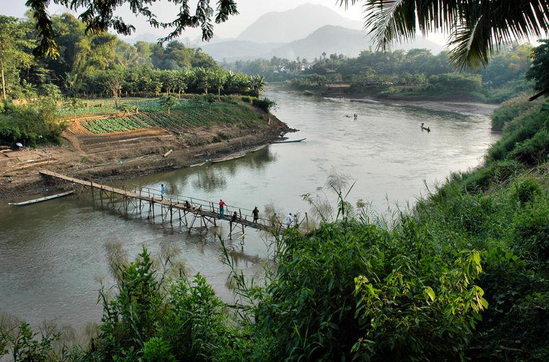 Bamboo Bridge Luang Prabang  LaoBamboo Bridge