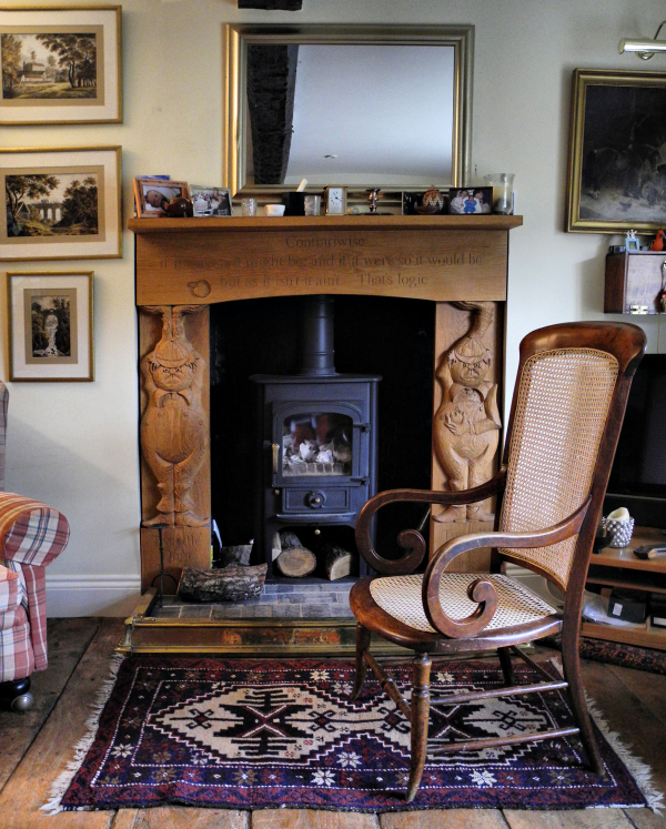 Cane Chair Carved Fire surround