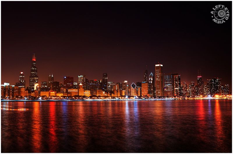 "Chicago, skyline, reflections, ""A Left-Eyed View"""