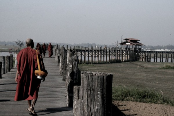 Myanmar, monks, bridge