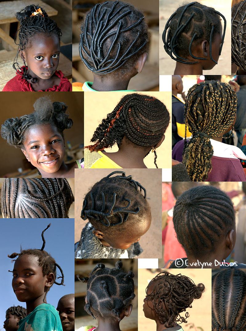 African hairstyles patchwork.