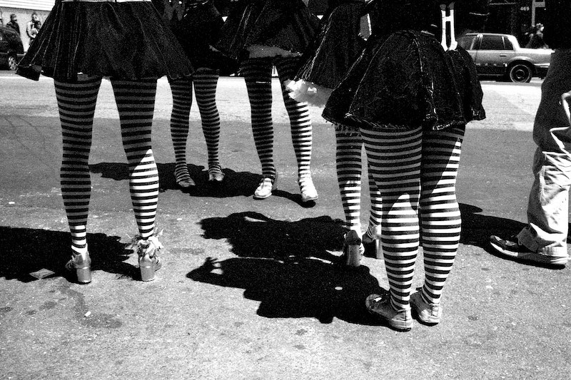 Girls In (Green) Striped Stockings