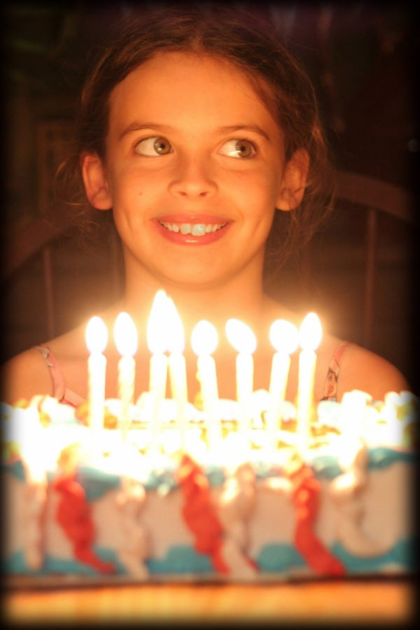 girl with a birthday cake and candles