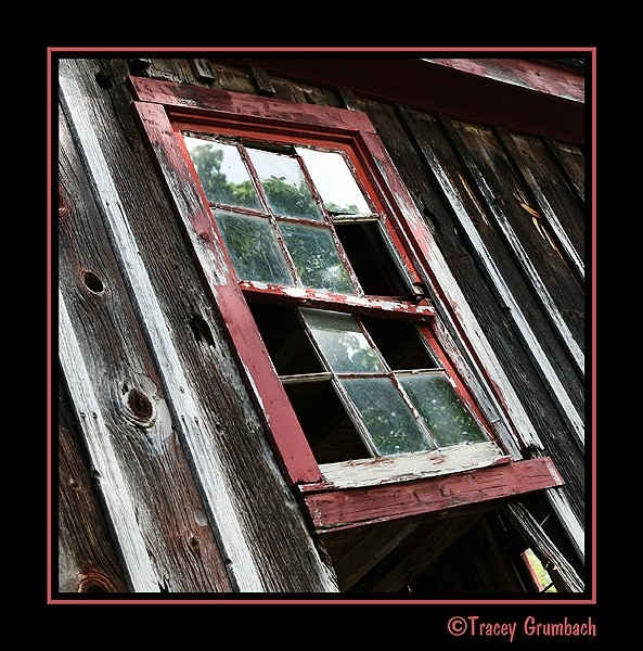 window of an antique barn