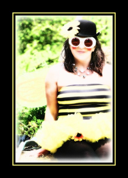 portrait of a woman in a bee costume