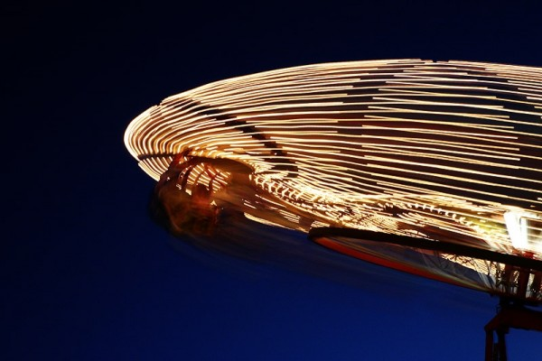 light trails of the umbrella rides