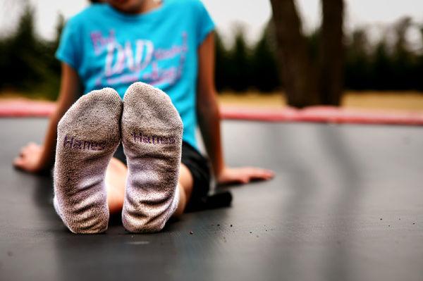 dirty Hanes socks on a girl