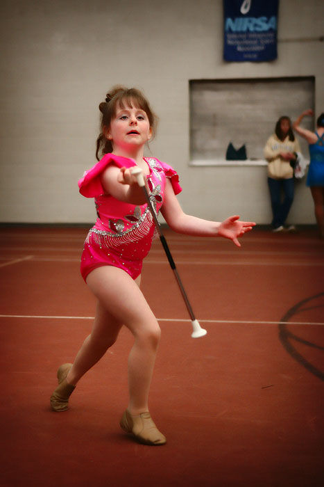 majorette practicing for a competition