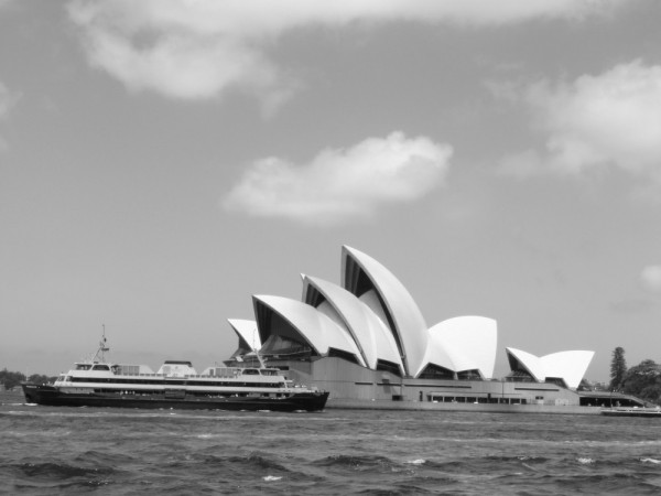 Opera House shot from a ferry on a cloudy day!