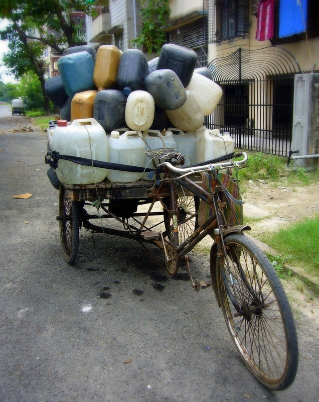 Water bottles on a rickshaw