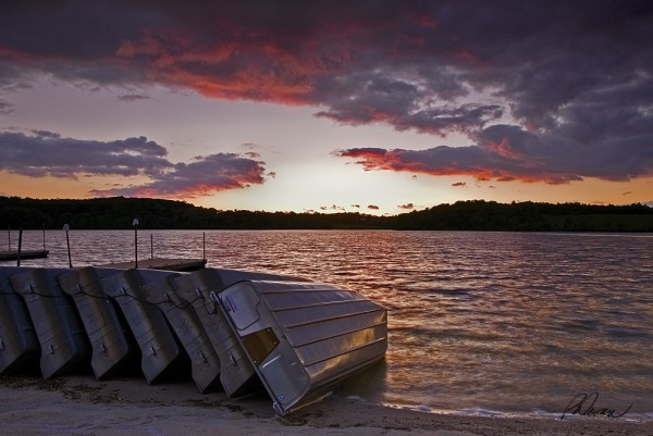 Rowboats lined up on shore at sunset, Marsh Creek