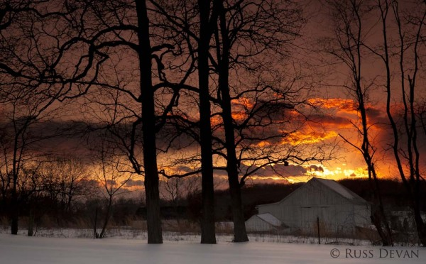 White barn and trees in winter at sunset