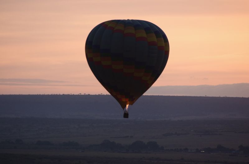 Balloon soaring over the Masai Mara, Kenya