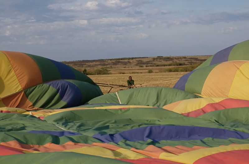Hot air balloon after landing
