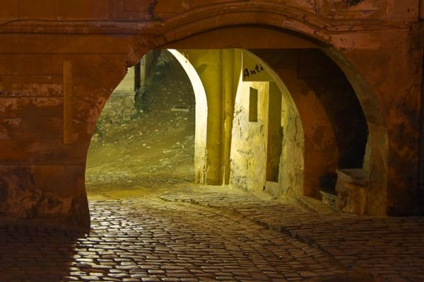 Entrance to Sighisoara citadel by night