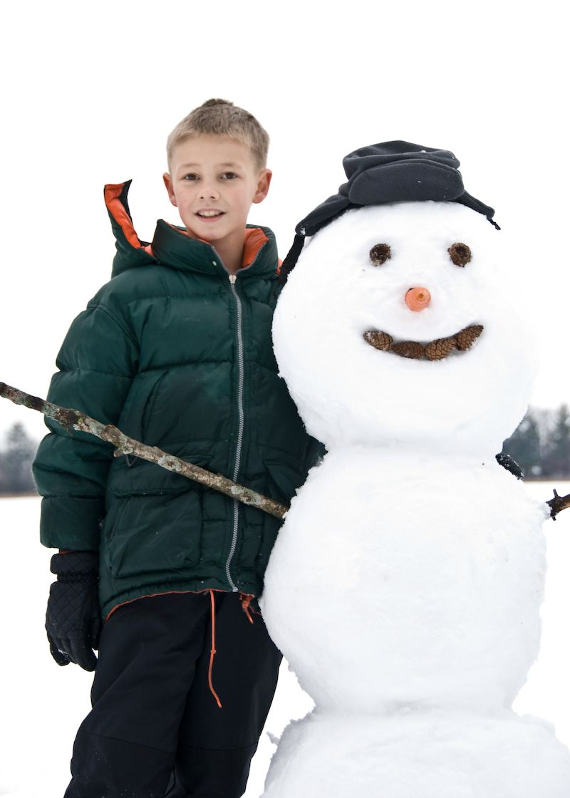 Ethan with his snowman