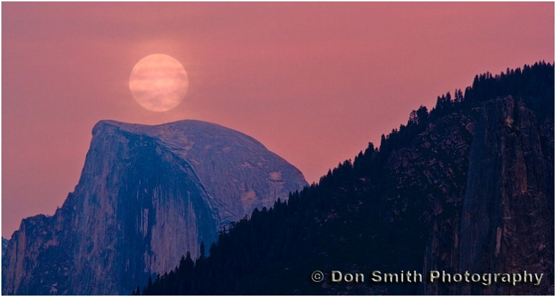 Full moon rising over Half Dome