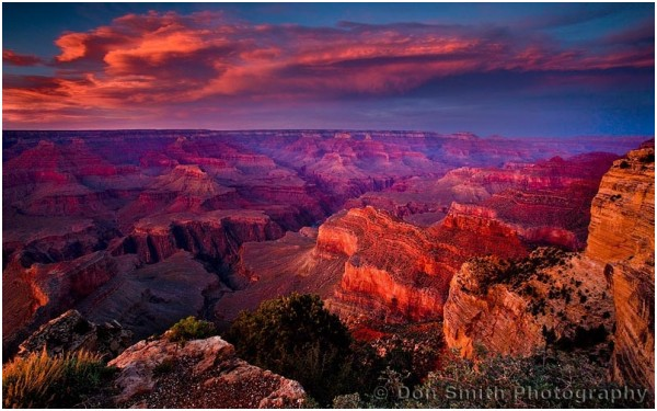 Sunset sky over Grand Canyon.