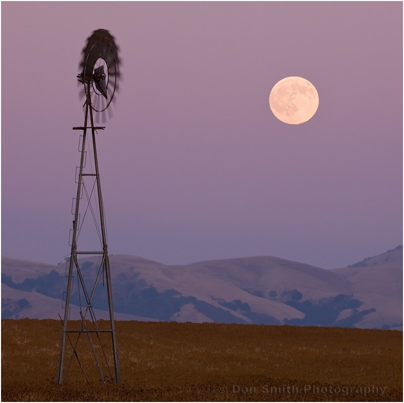 A September full moon rises near an old windmill.
