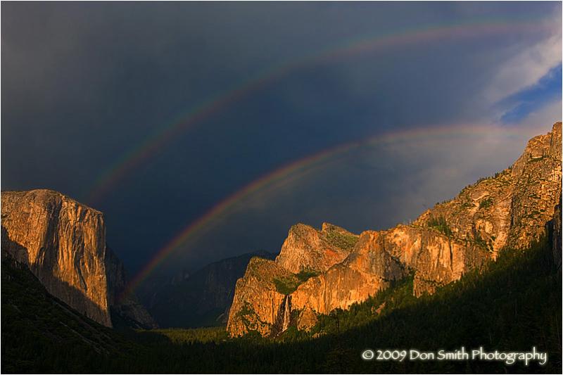 Double-rainbow over Yosemite Valley