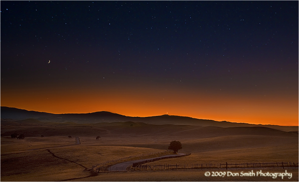 Twilight sky over San Benito County, California.