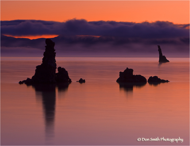 Mist and cloud at Mono Lake, California.