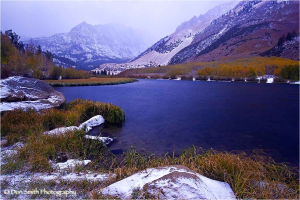Fresh snow and fall color at North Lake.