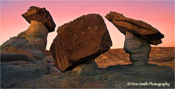 Pedestal rocks at Stud Horse Point, Arizona.