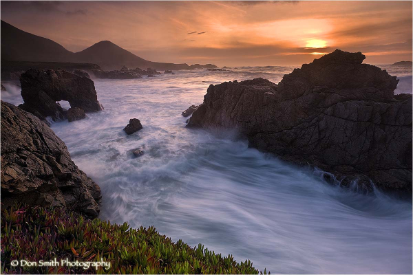 Winter sunset at Sobranes Point, Big Sur.