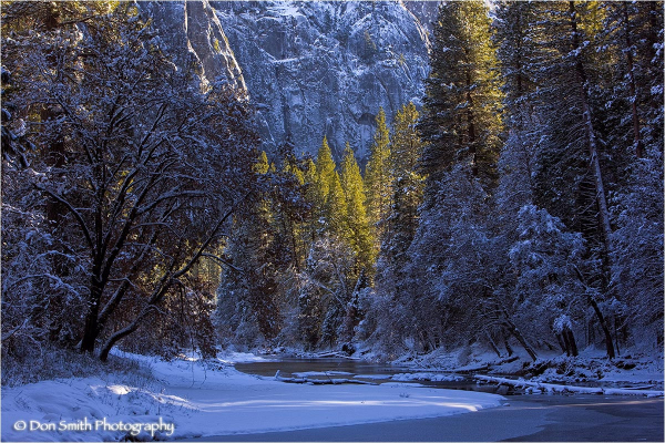 Merced River and winter afternoon.
