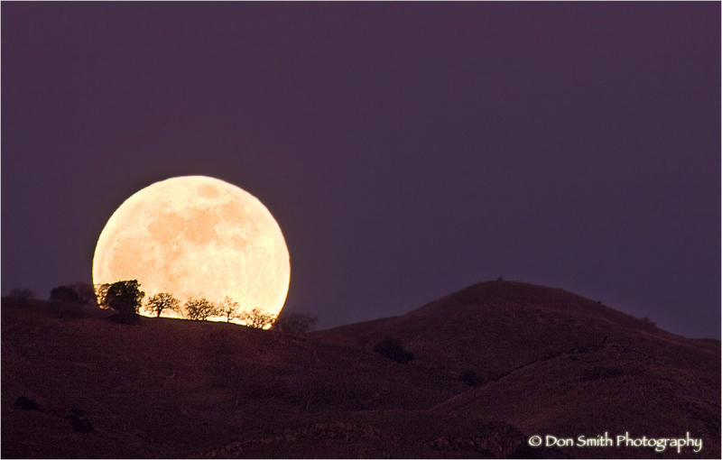 A Wolfe Moon rises over coastal California hills
