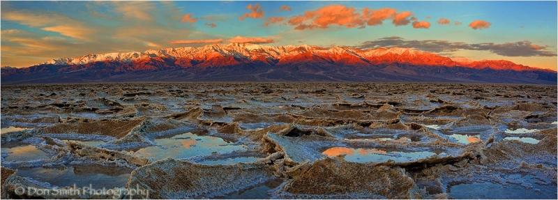 Reflection pools in salt polygons, Death Valley.