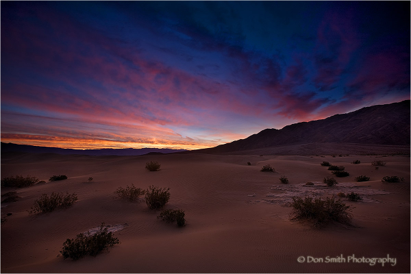 Dawn light on Mesquite Dunes Death Valley.