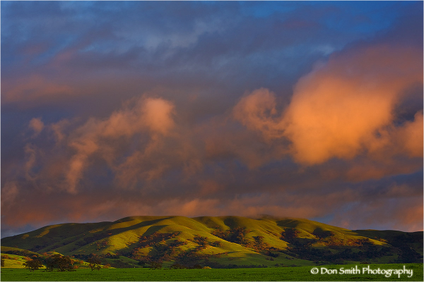 Sunset and storm light in San Benito County.