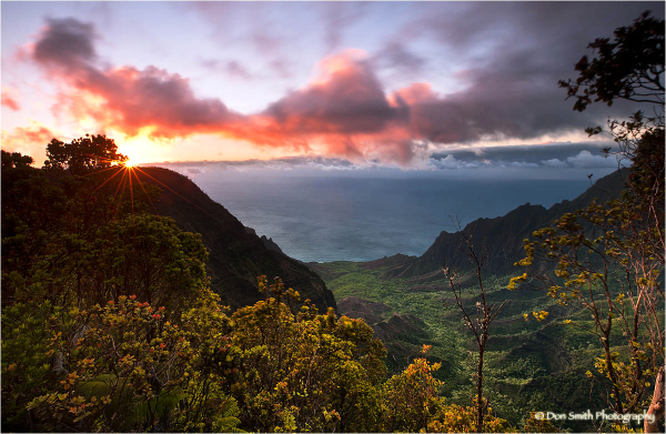 Sunset sky over Kalalau Valley, Kauai, Hawaii