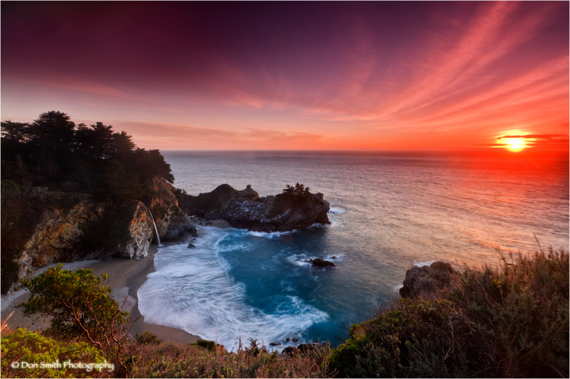 Winter sunset at McWay Falls, Big Sur.