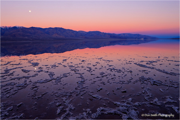 Moonset at Dawn, Badwater, Death Valley