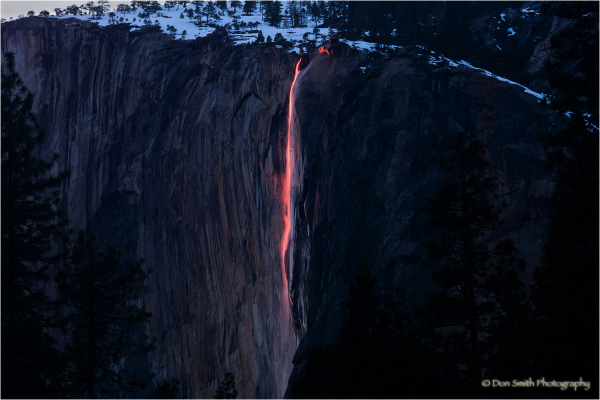 Red light on Horsetail Falls, Yosemite.