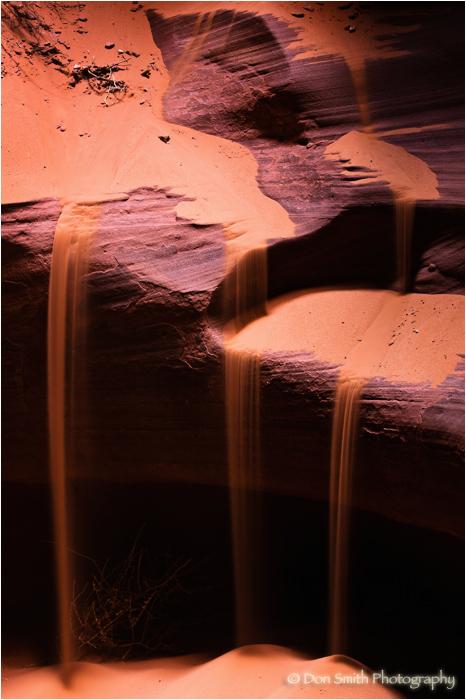 Sand falls, Upper Antelope Canyon, Arizona.