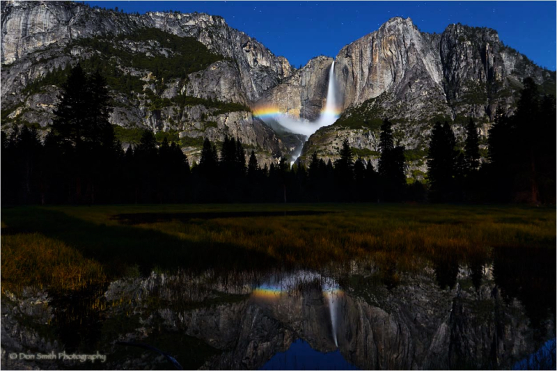 A moonbow and lower Yosemite Falls.
