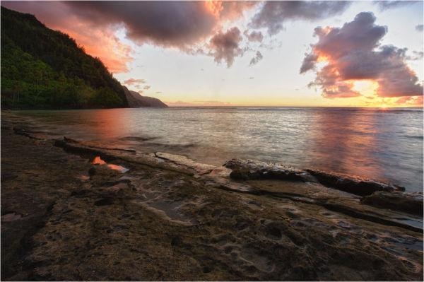 NaPali Cliffs and Ke'e Beach, Kauai, Hawaii.