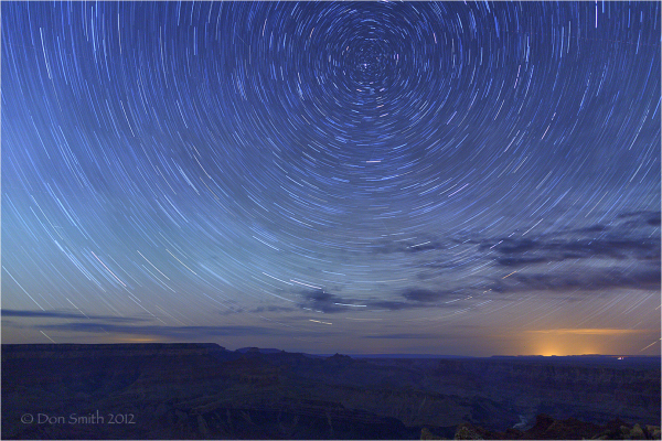 Star trails over Grand Canyon.