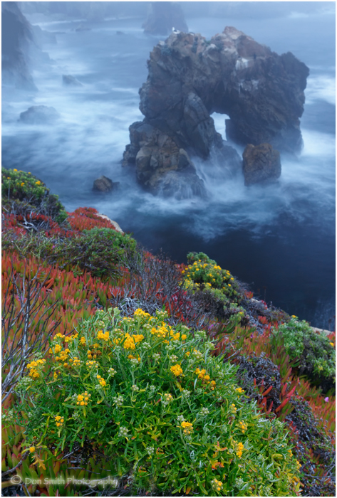 Fog-shrouded evening and Sobranes Arch, Big Sur.