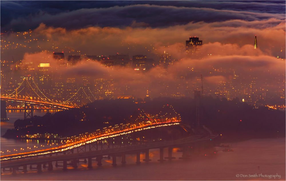 Fog and dusk light , San Franciso, California