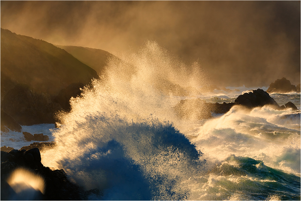 King Tides explode against rocks, Big Sur