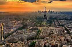 Paris and Eiffel Tower Sunset
