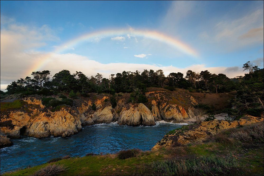 rainbow over china cove, point lobos state reserve
