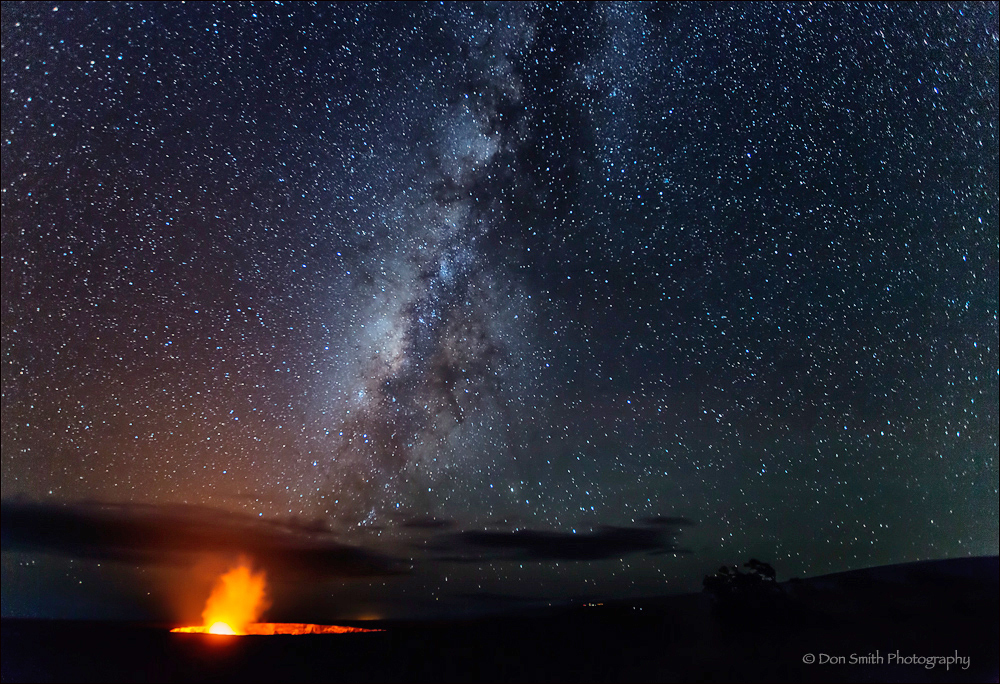Volcanoes National Park, night, caldera, processin