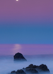 Moonset Over Pacific, Big Sur, California