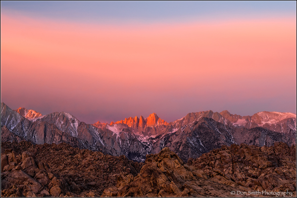 Alpenglow Light on Mt. Whitney, Alabama Hills